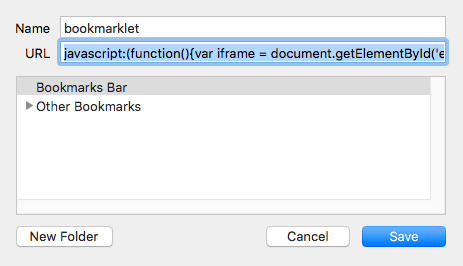 creating the bookmarklet in Chrome