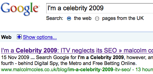 Google search results back in 2009; the smart apostrophe hurt the listing